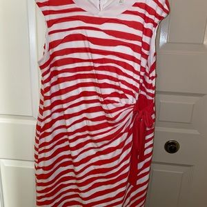 Plus size coral and white cotton dress with bow